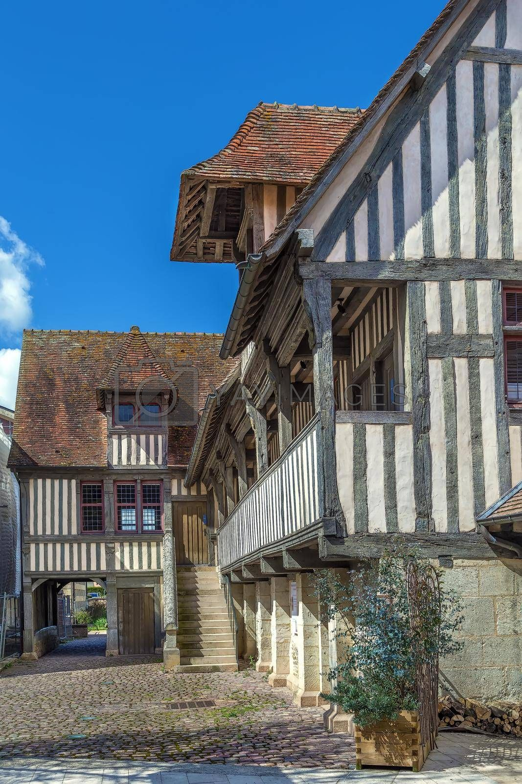 Royalty free image of Half-timbered houses in  Pont-l'Eveque, Calvados, France by borisb17
