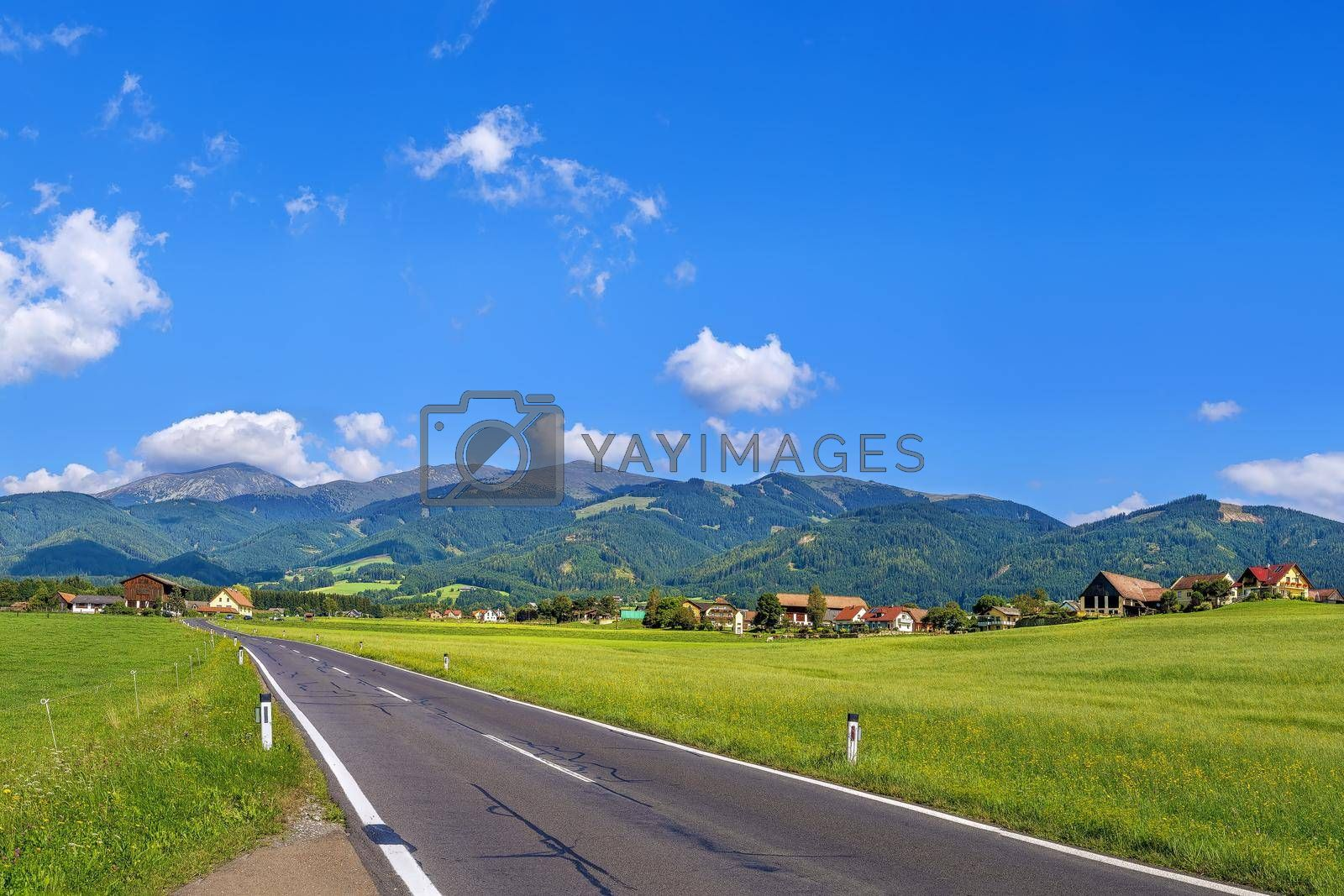 Royalty free image of View of fields and Alps, Austria by borisb17