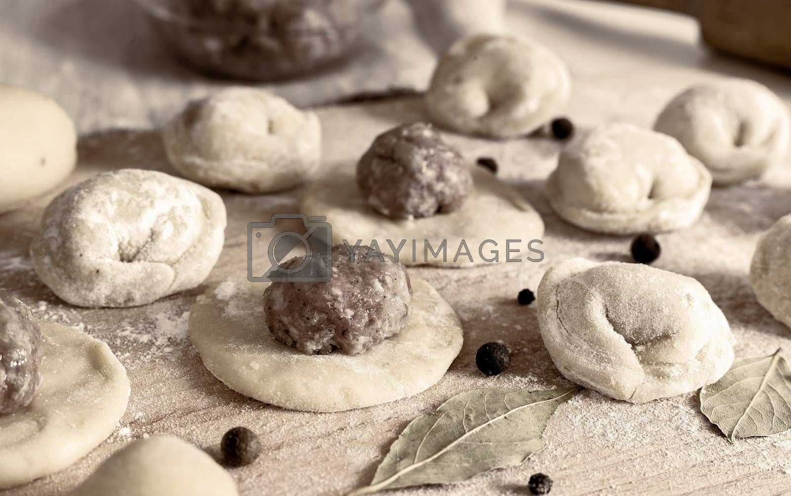 Royalty free image of Russian dumplings and components for their production by georgina198