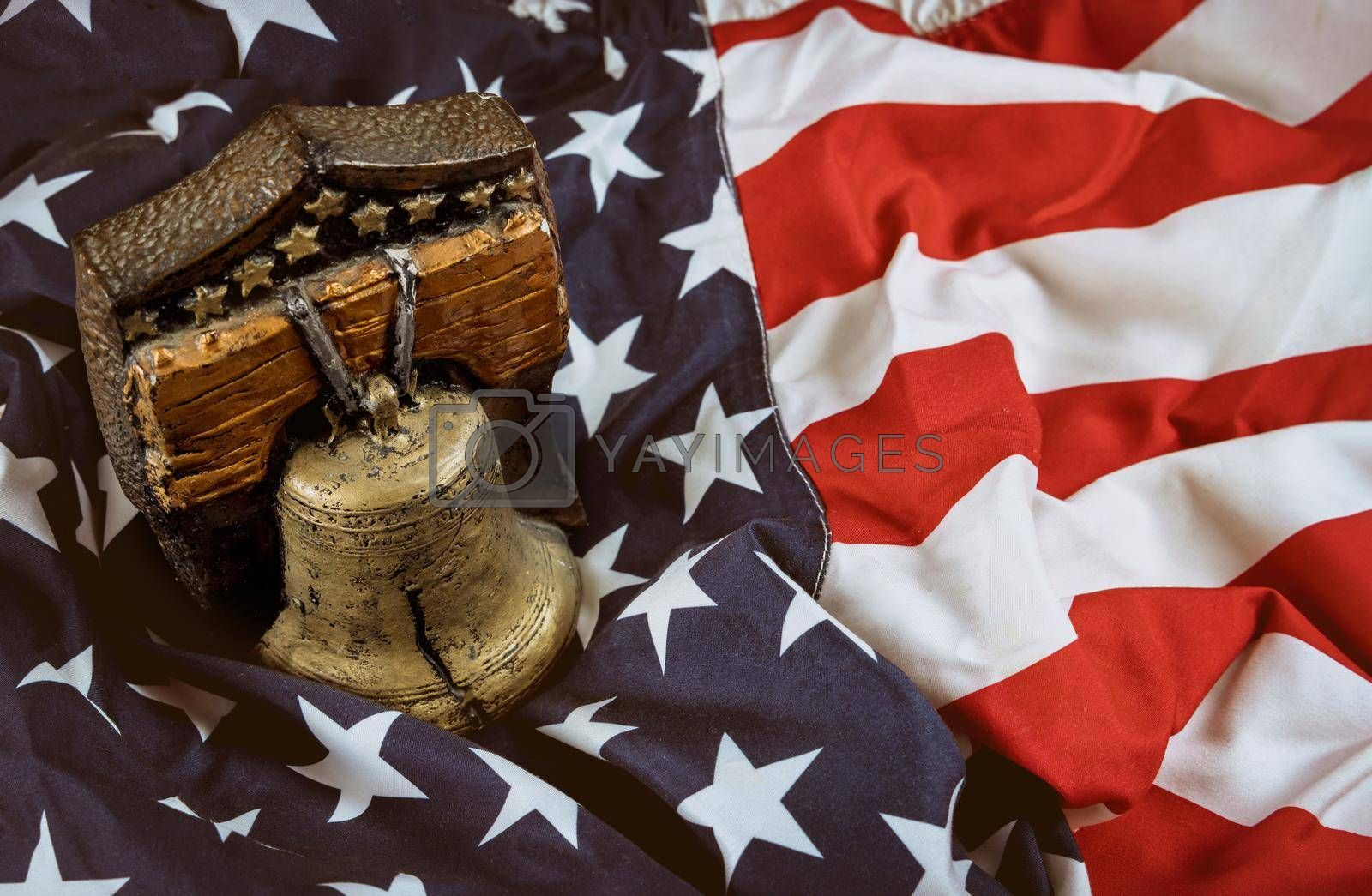 Remember bell with American flag Memorial day celebration remember those who served