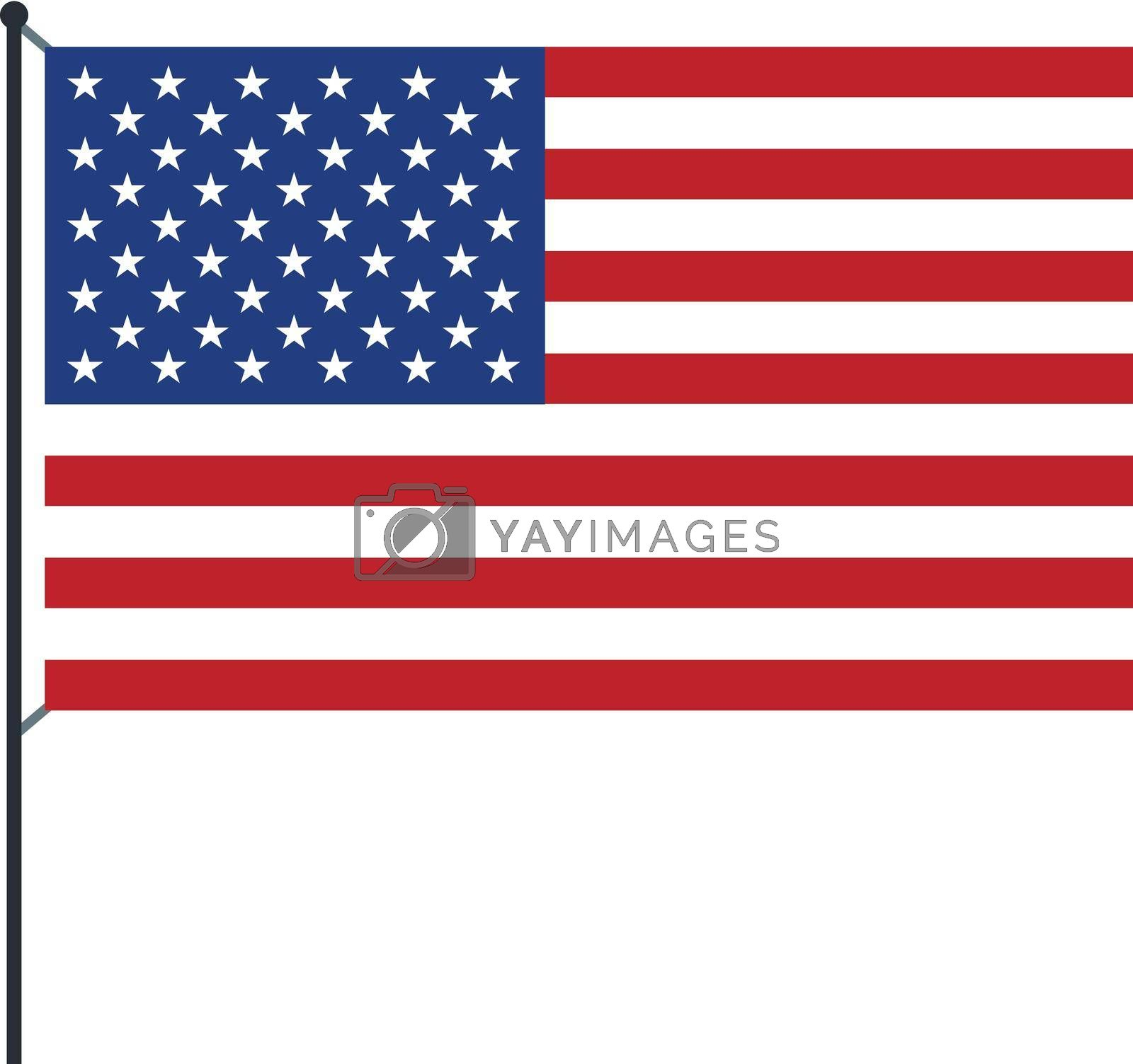 USA flag icon in flat style on a white background