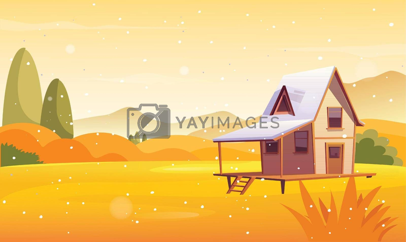 Royalty free image of a small wooden house in a beautiful desert on a sunny day by aanavcreationsplus