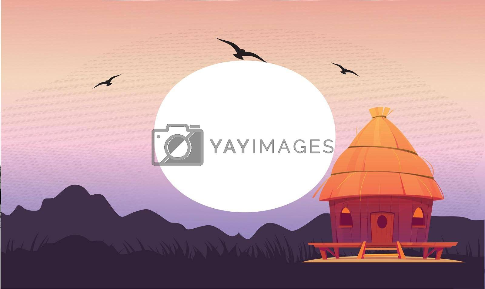 Royalty free image of a beautiful small house view during the sunrise in the morning by aanavcreationsplus