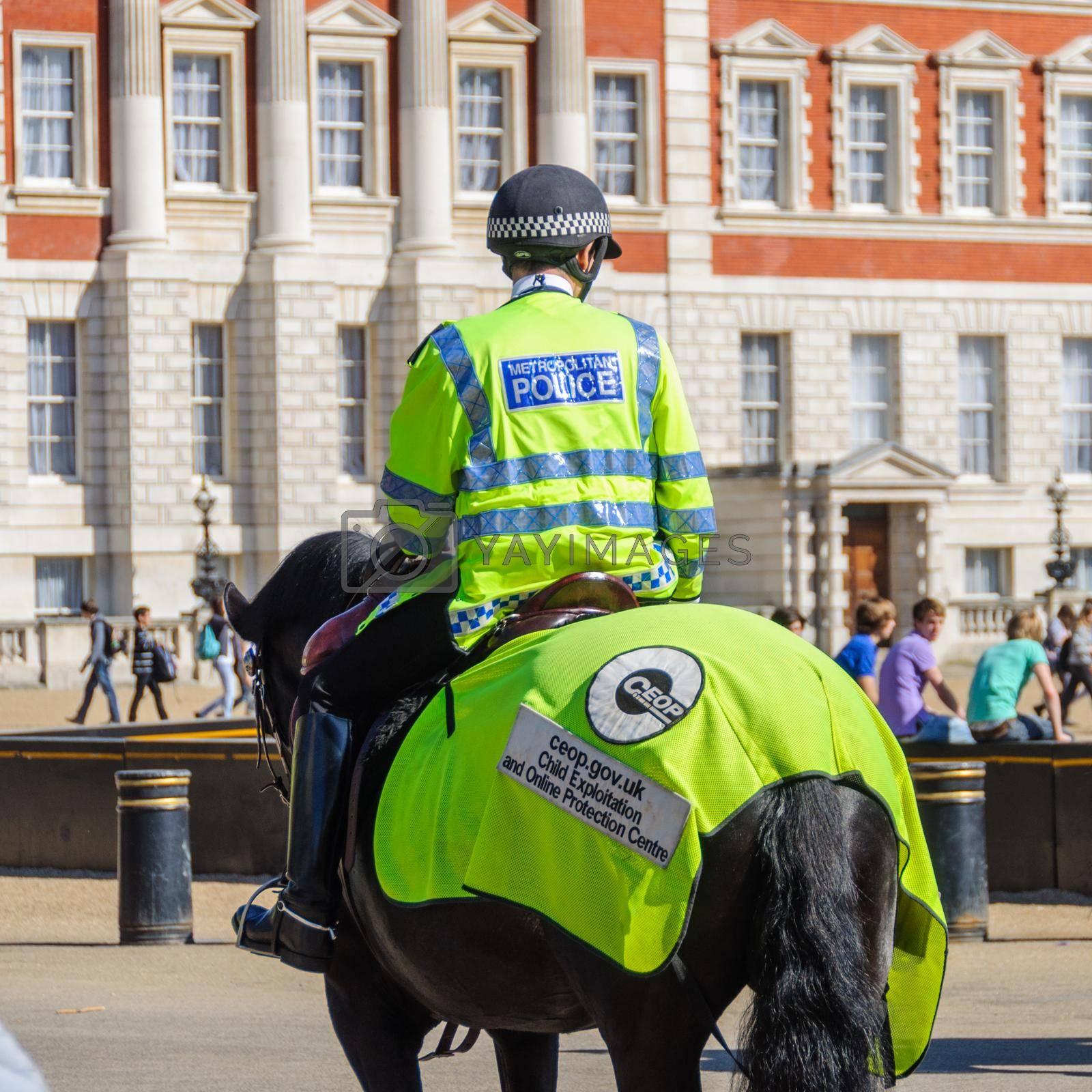 LONDON, UK - CIRCA APRIl 2011: Mounted police officer at Horse Guard Parade.