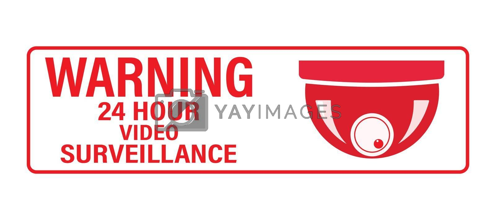 Royalty free image of WARNING 24 hours video surveillance. Vector video surveillance sign with the inscription by Grommik
