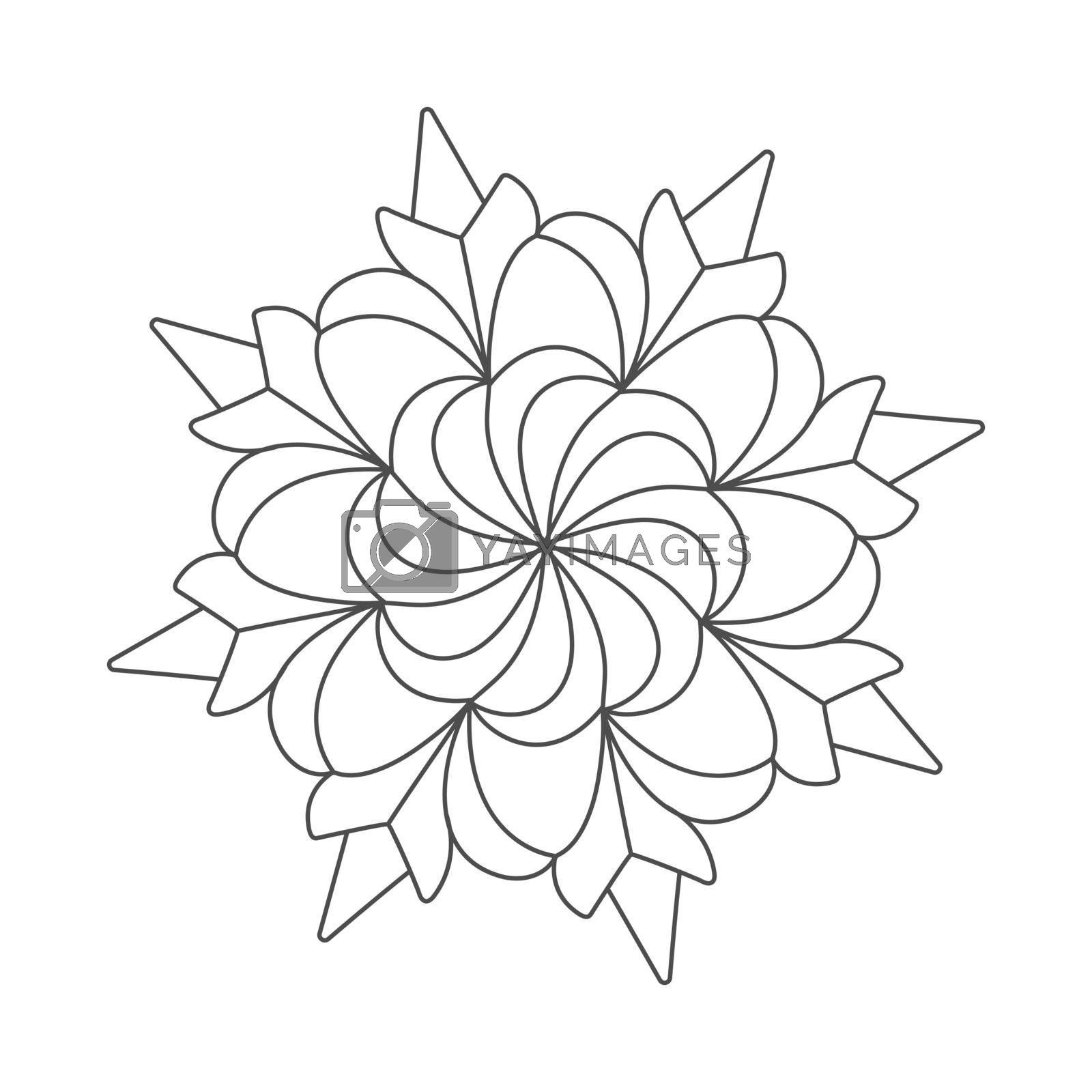 Line drawing of a flower pattern, for application, coloring book, scrapbooking, and creative design. Flat style.