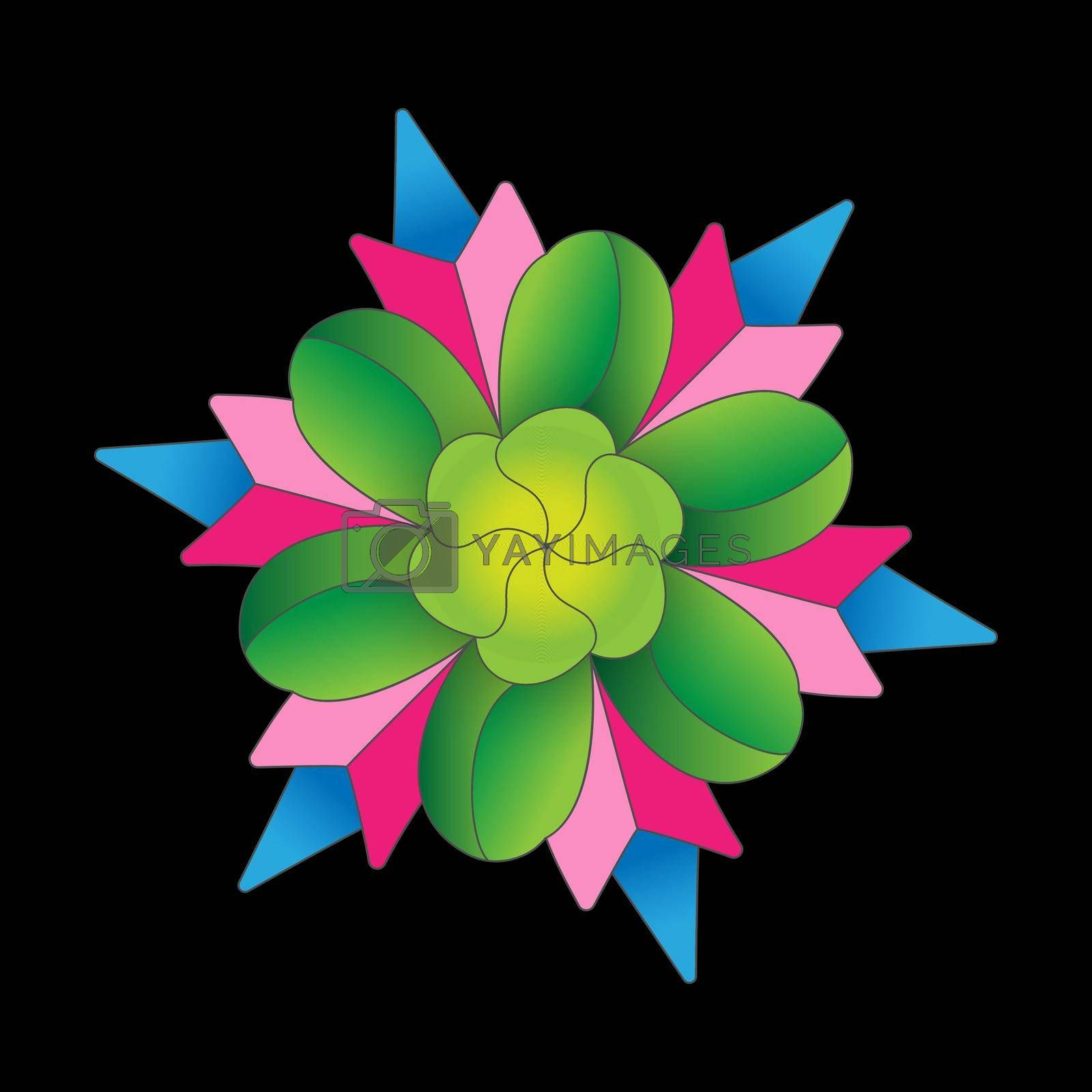 Color flower pattern for scrapbooking, impression, stamp, figure carving and creative design. Flat style.