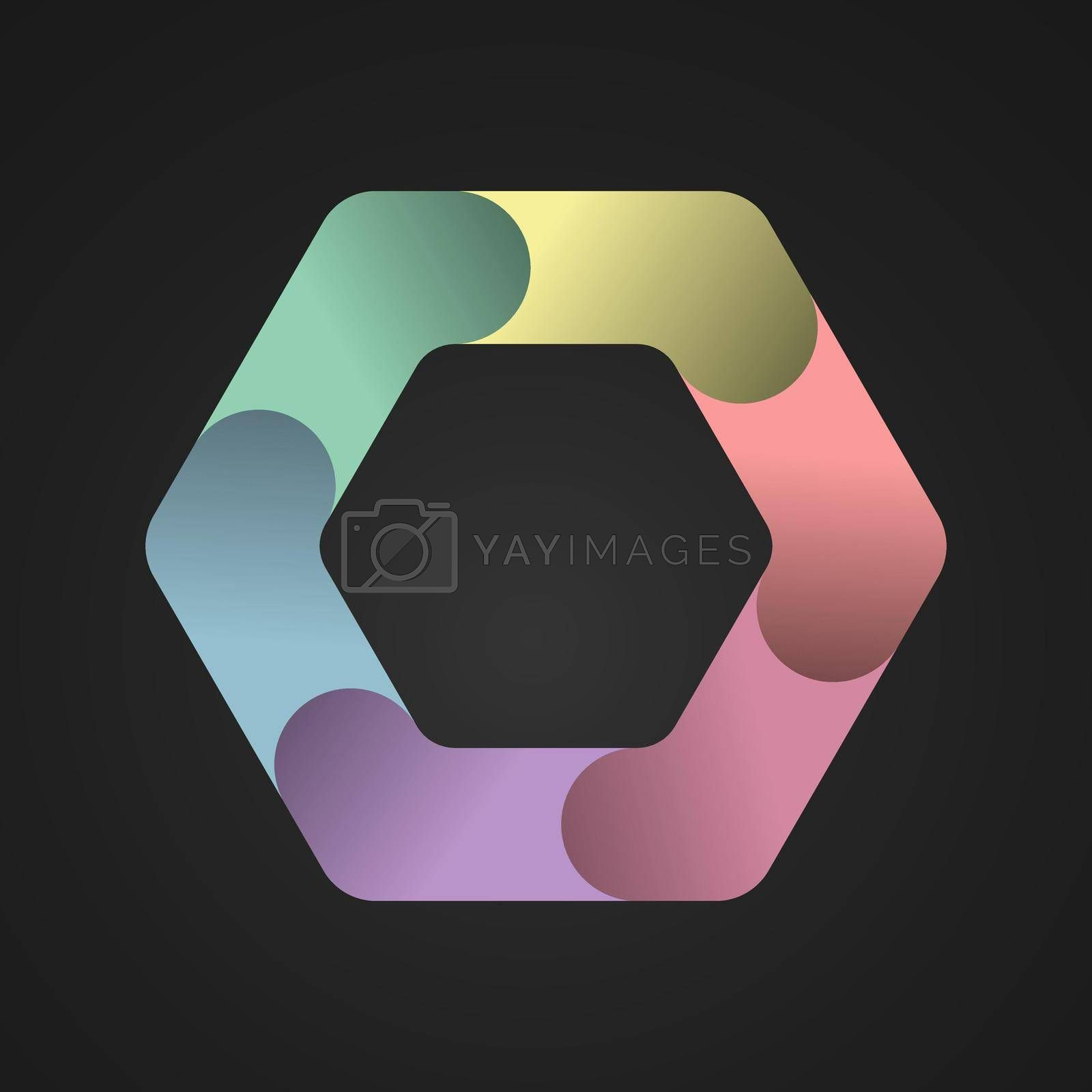 hexagon divided into six colored parts. Template for infographics. Color design