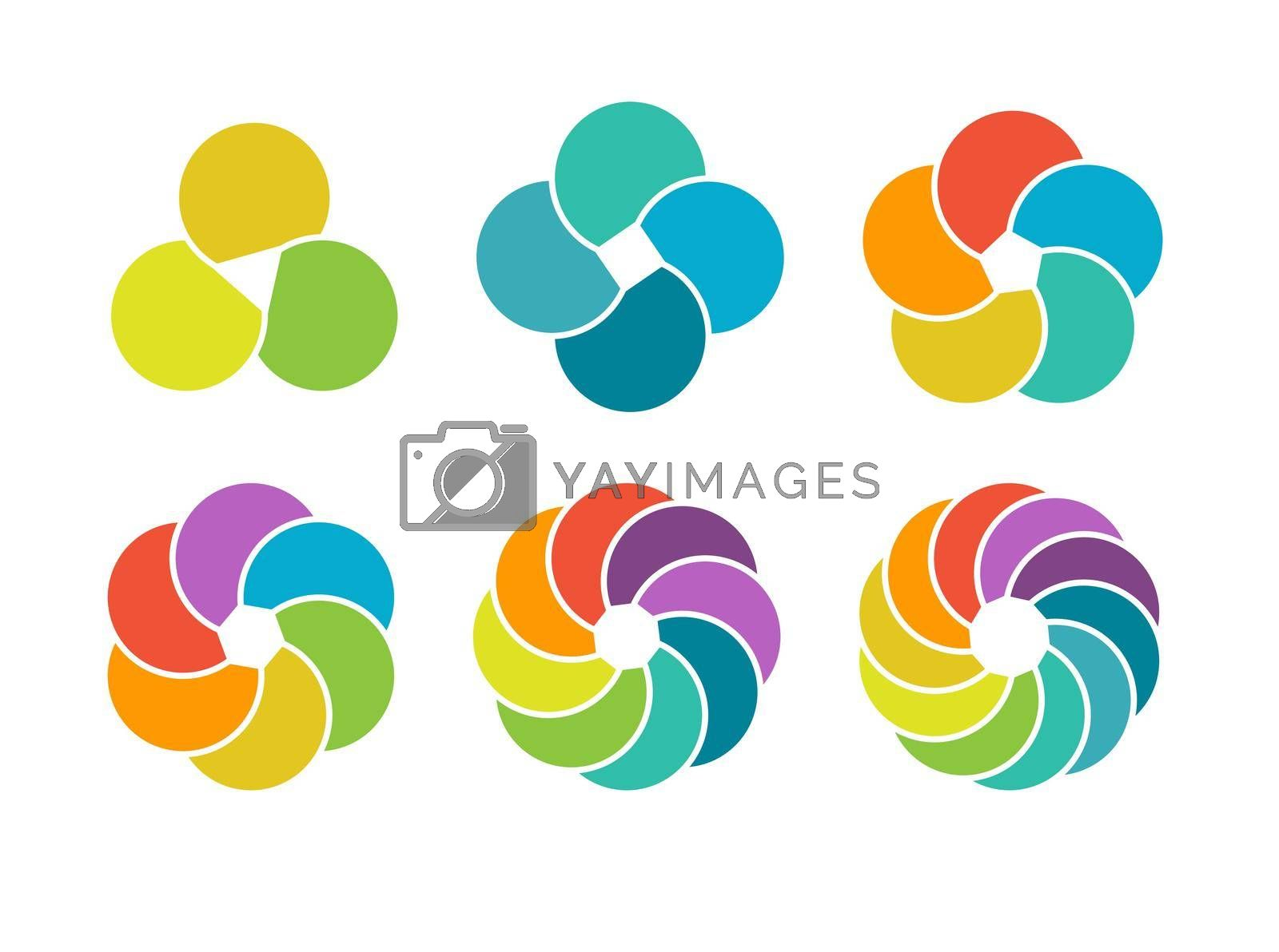 set of color pie charts of 3, 4, 5, 6, 8, and 10 parts or elements for visualizing infographics, business plans, marketing, and reporting. Simple design, stock vector illustration.