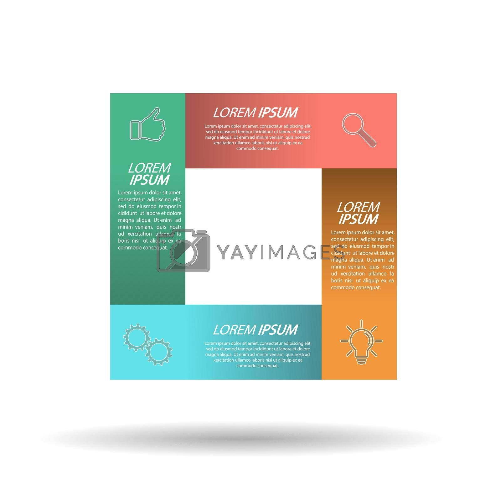 Infographic template with visual icons. 4 stages of business, training, marketing or financial success. Vector illustration