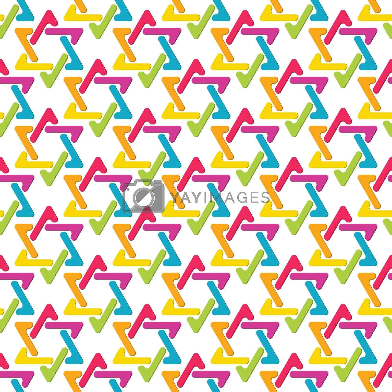 Seamless color pattern of interlocking triangles. Template for textures, textiles, and simple backgrounds. Simple style
