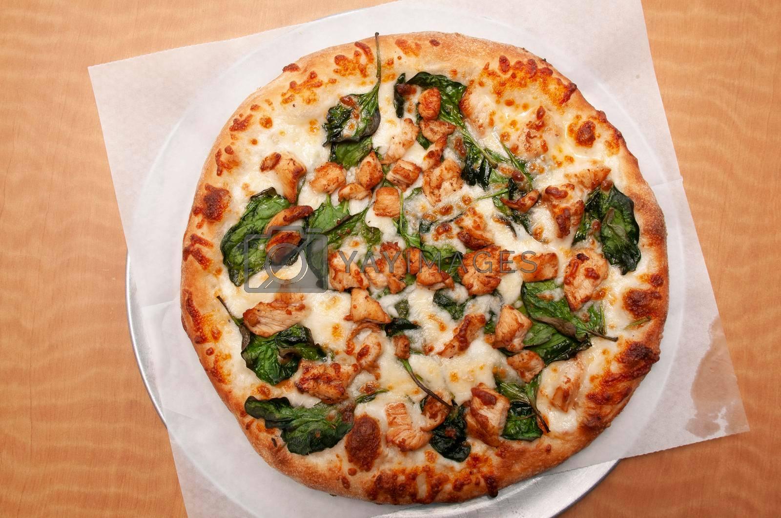 Delicious Italian cuisine known as chicken alfredo pizza