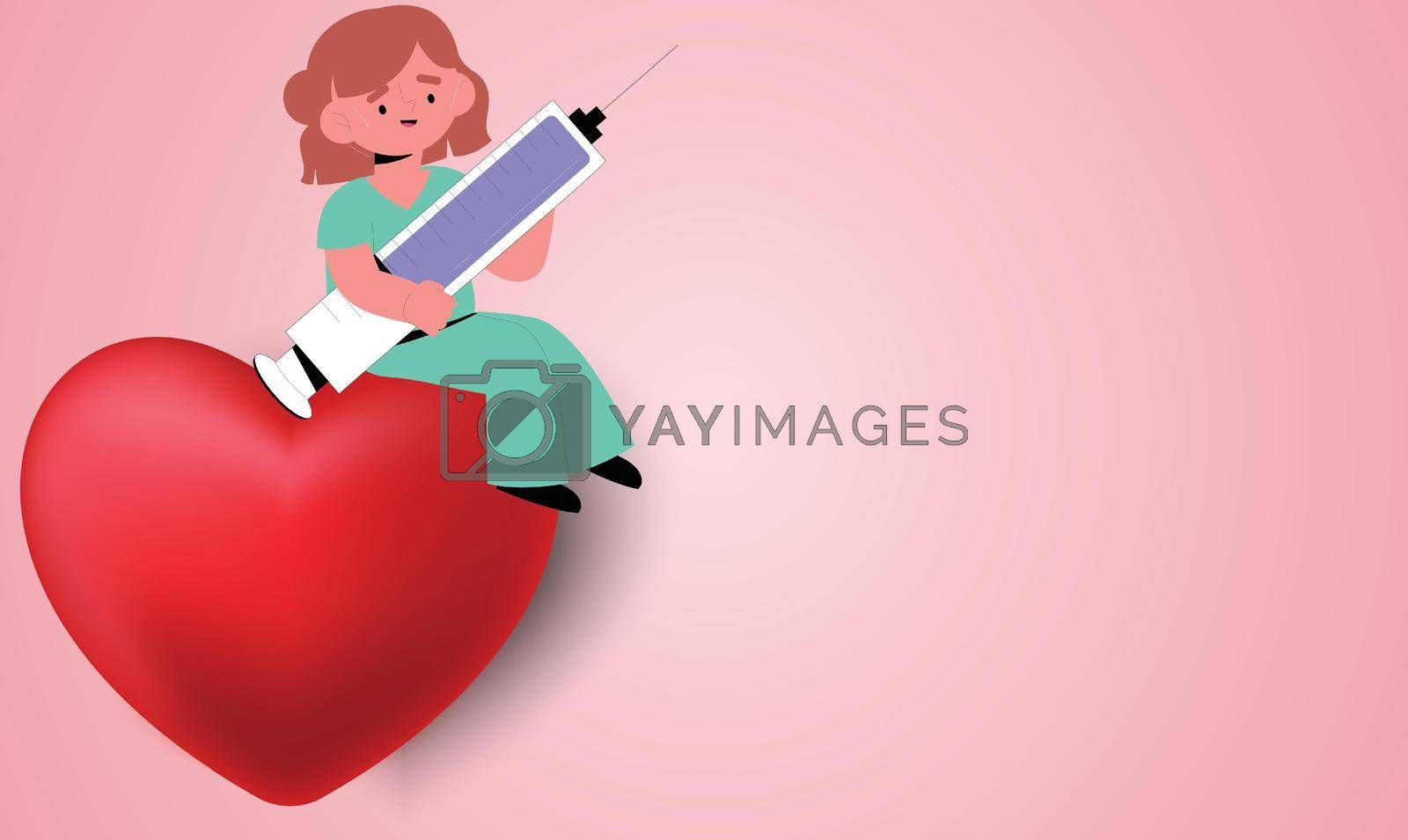 Royalty free image of a girl carrying medicine on a red heart on abstract background by aanavcreationsplus