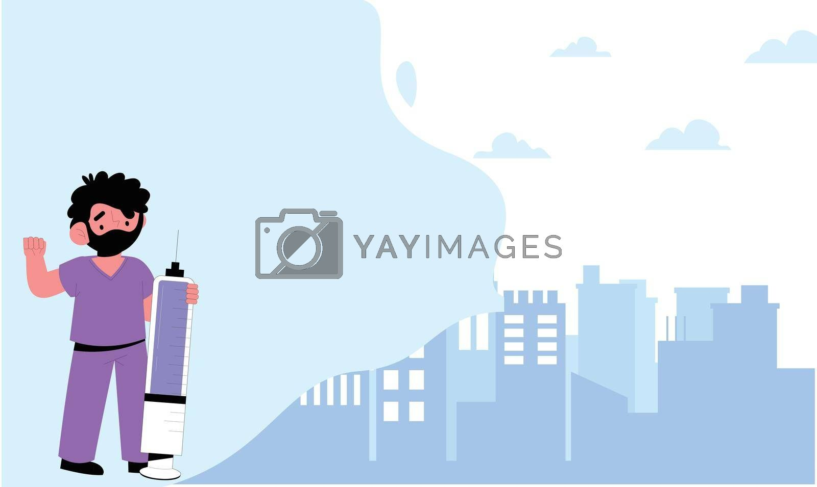 Royalty free image of art of doctor carrying medical equipment near city by aanavcreationsplus
