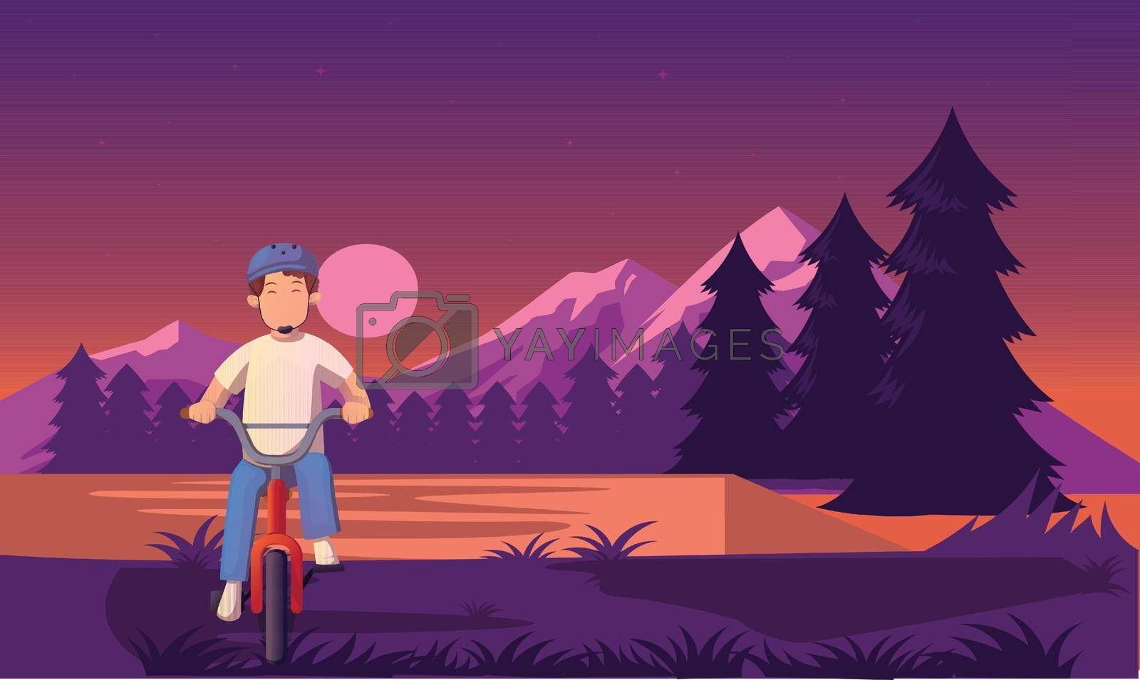 Royalty free image of a boy riding bicycle in the evening near river by aanavcreationsplus