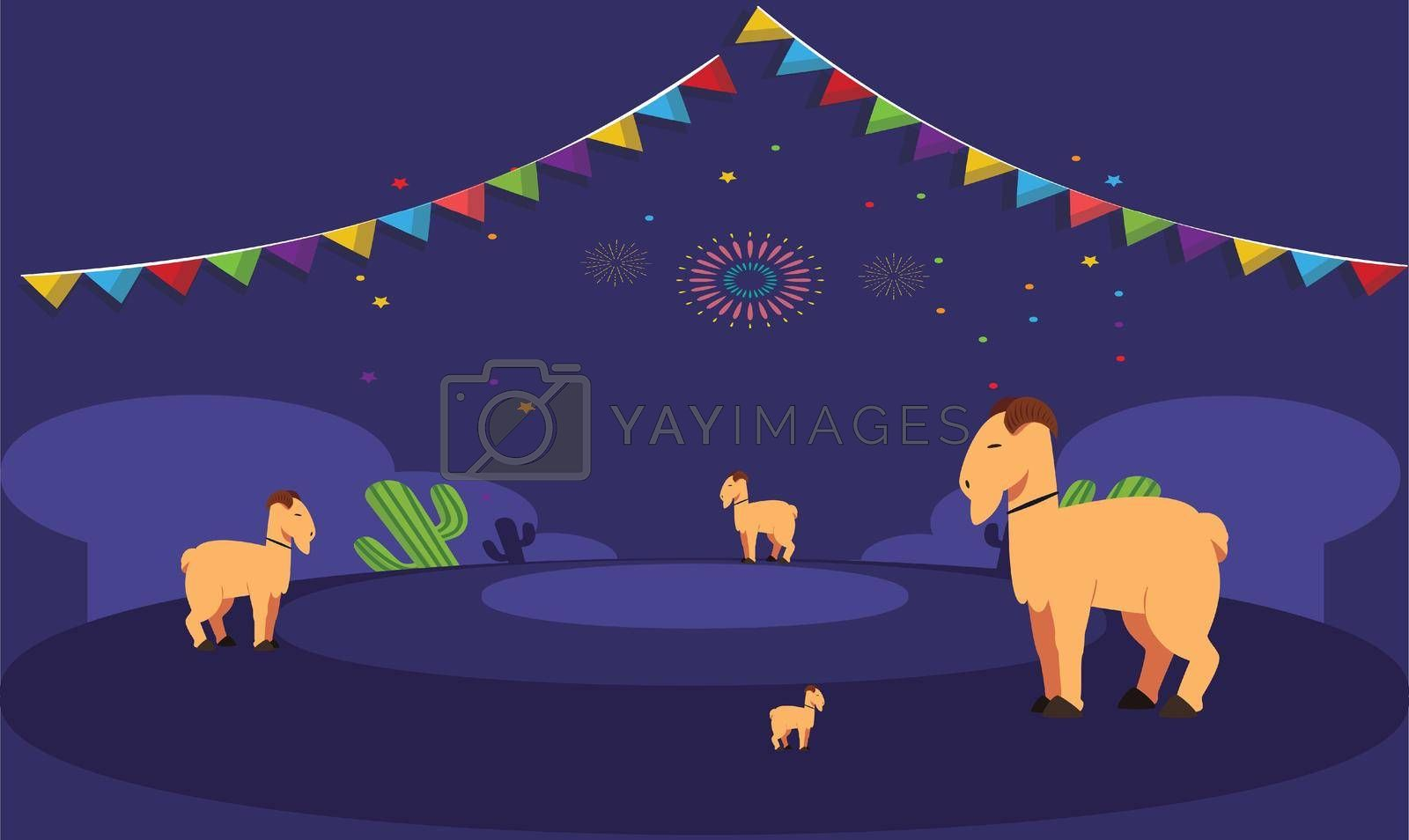 Royalty free image of animals are playing together in the evening during Christmas by aanavcreationsplus
