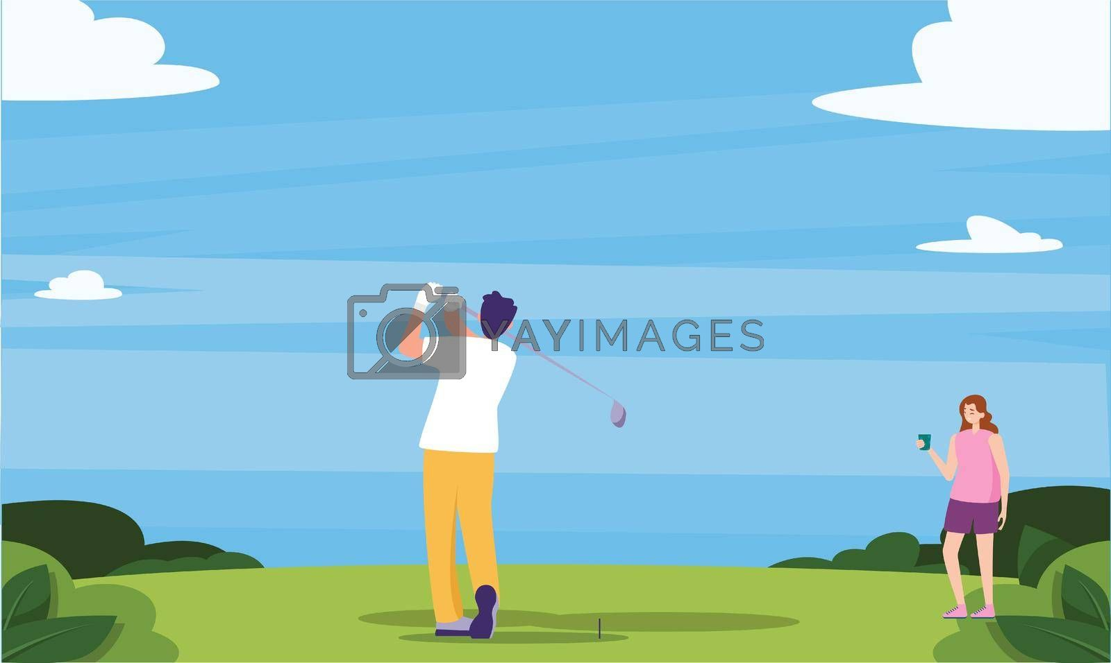 Royalty free image of couple is playing golf in the garden by aanavcreationsplus