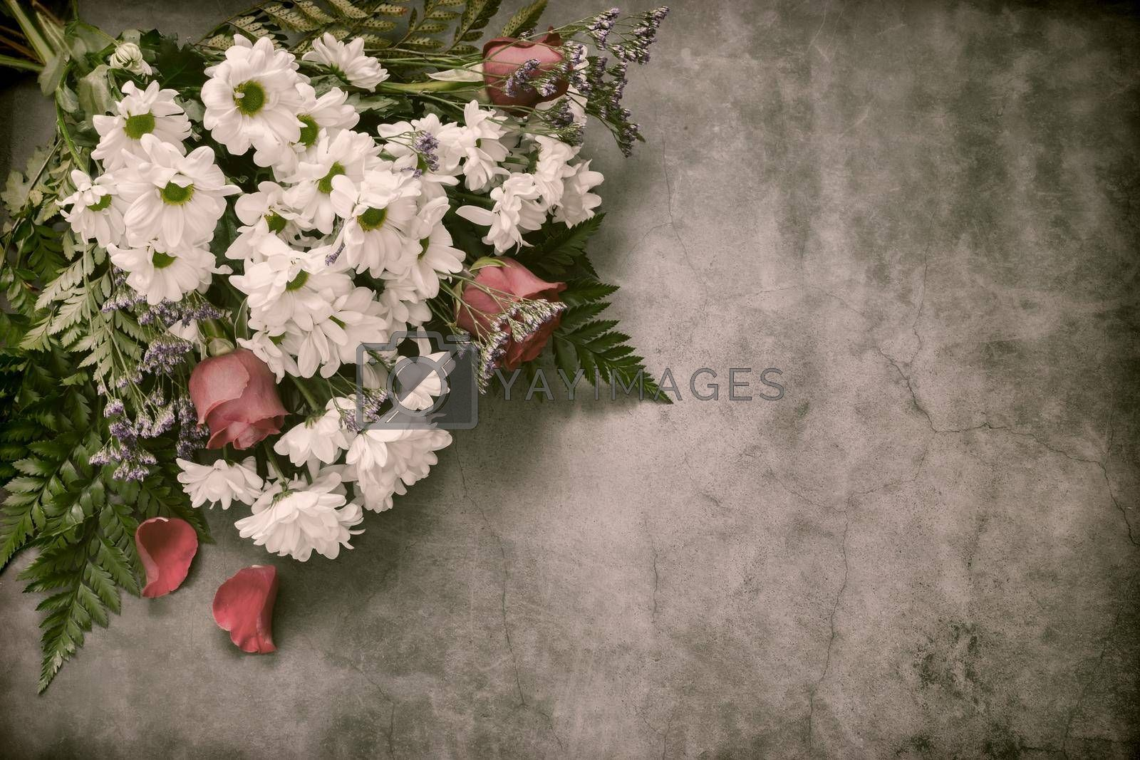 Royalty free image of Bouquet of white chrysanthemums with red roses by georgina198