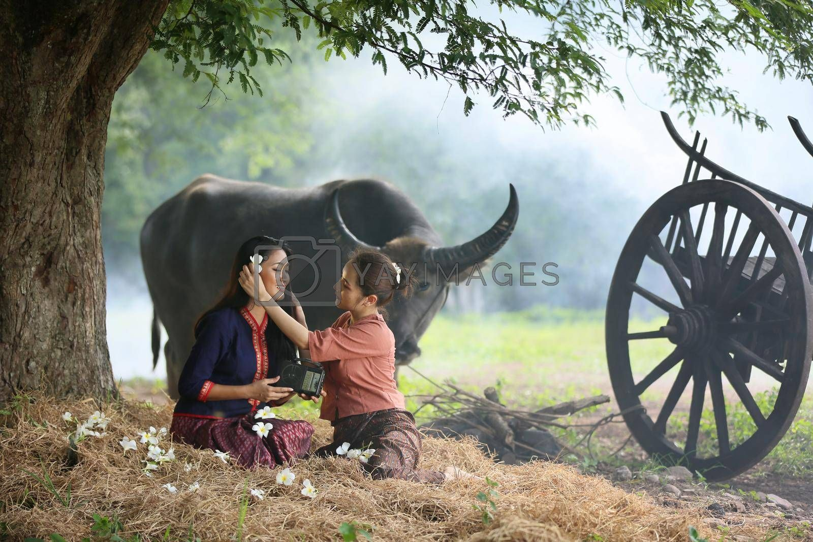 Two Asian woman wearing traditional thai Esan custom style culture sitting in field, while listening  vintage style radio against buffalo and farm background.