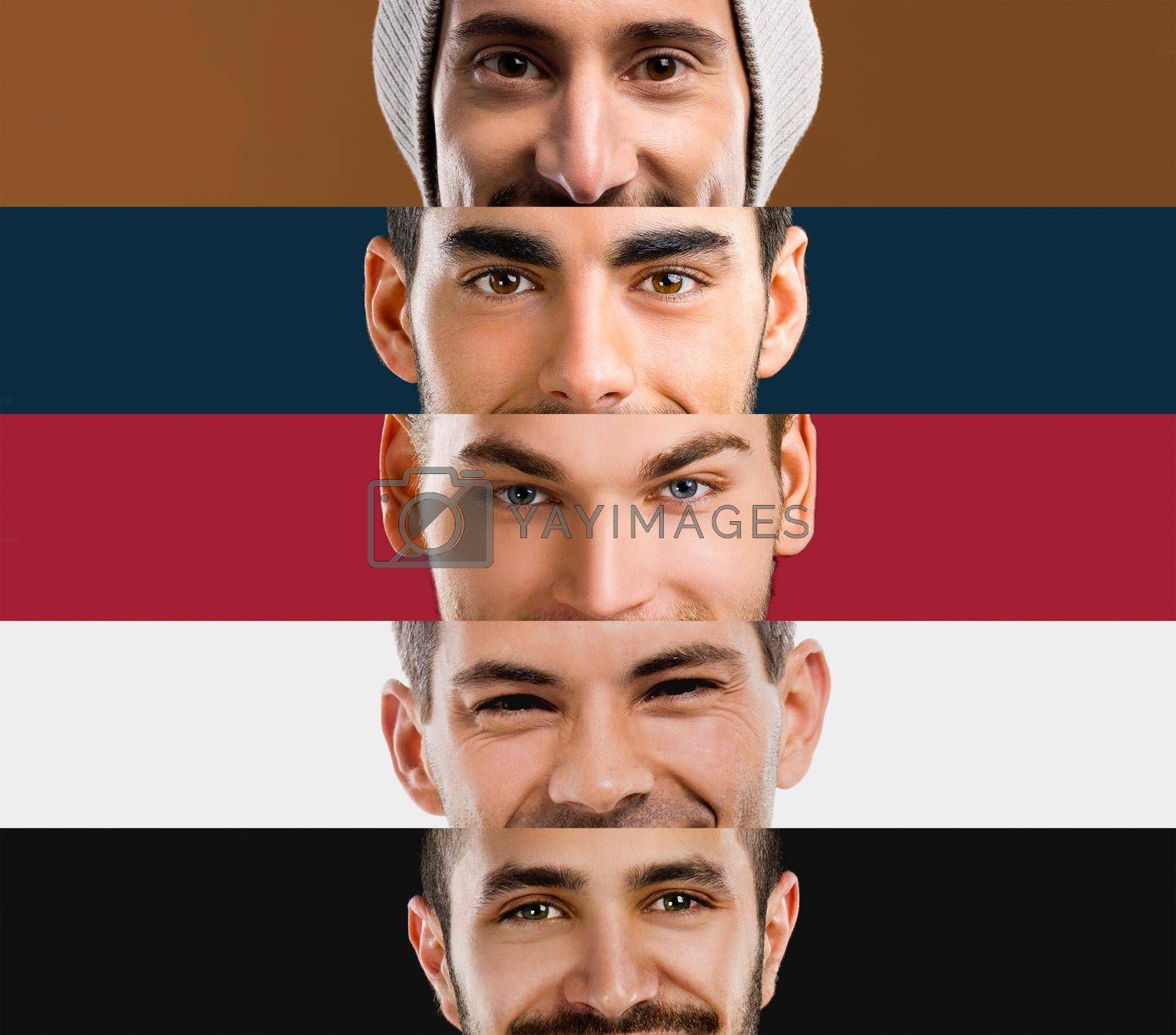Royalty free image of Multiple portraits of young men's by Iko