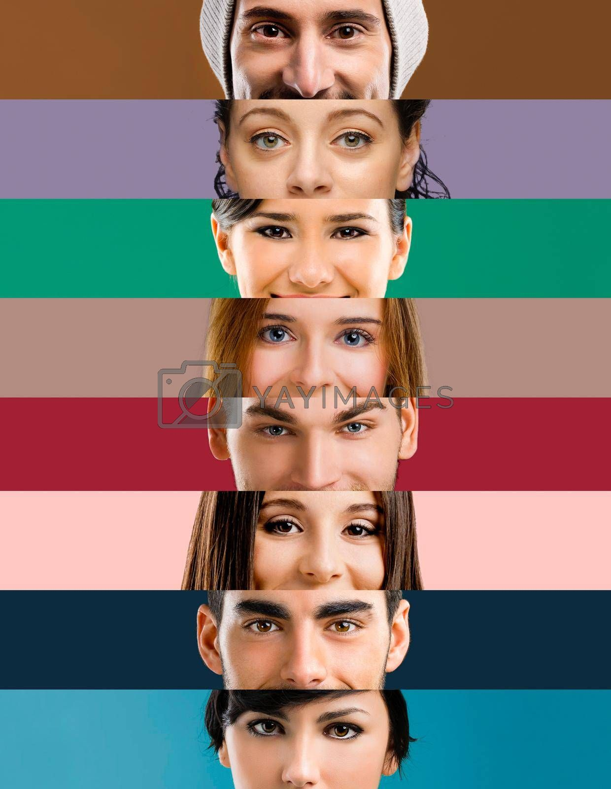 Royalty free image of Multiple portraits of women and men by Iko