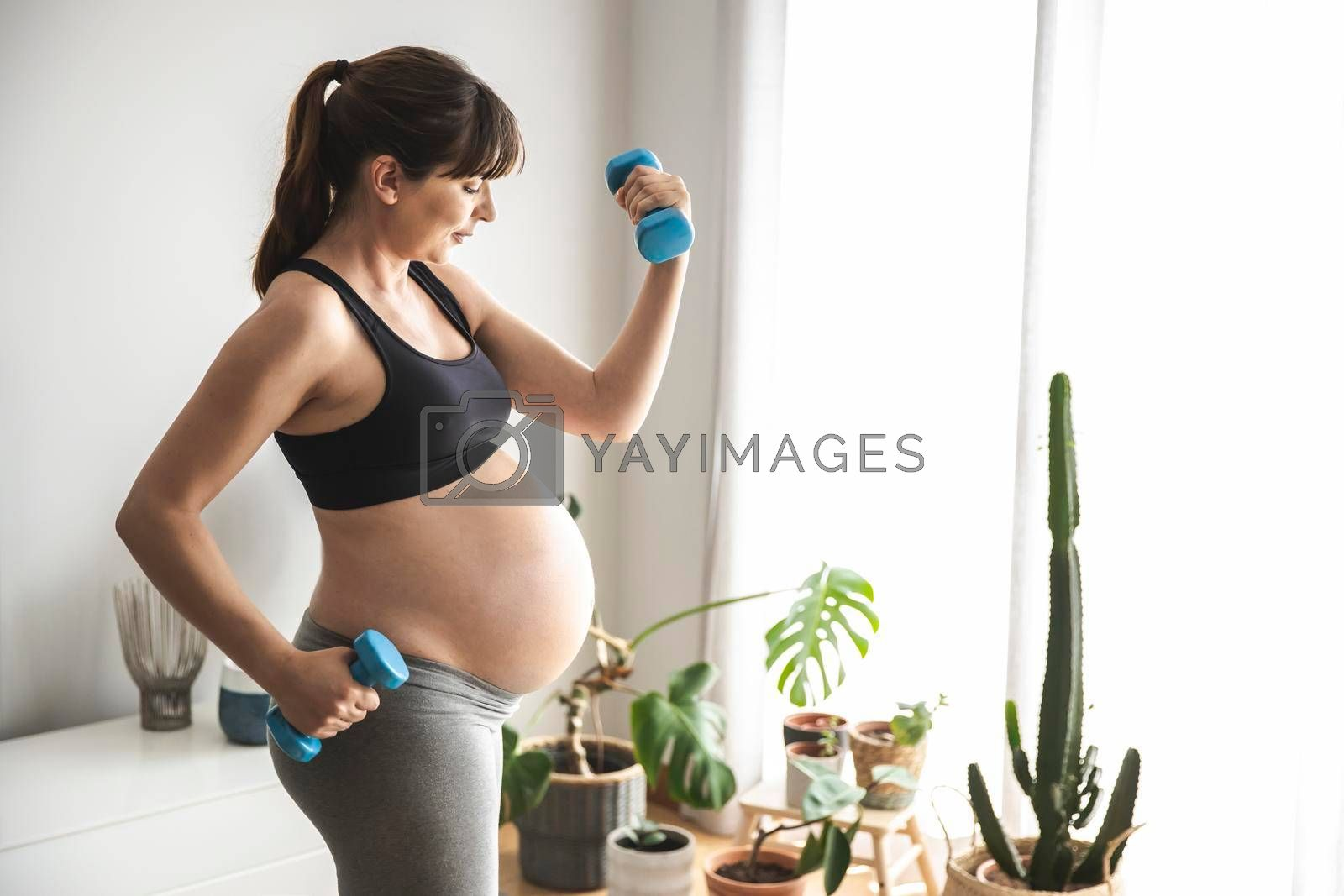 Royalty free image of Pregnant woman doing exercises by Iko