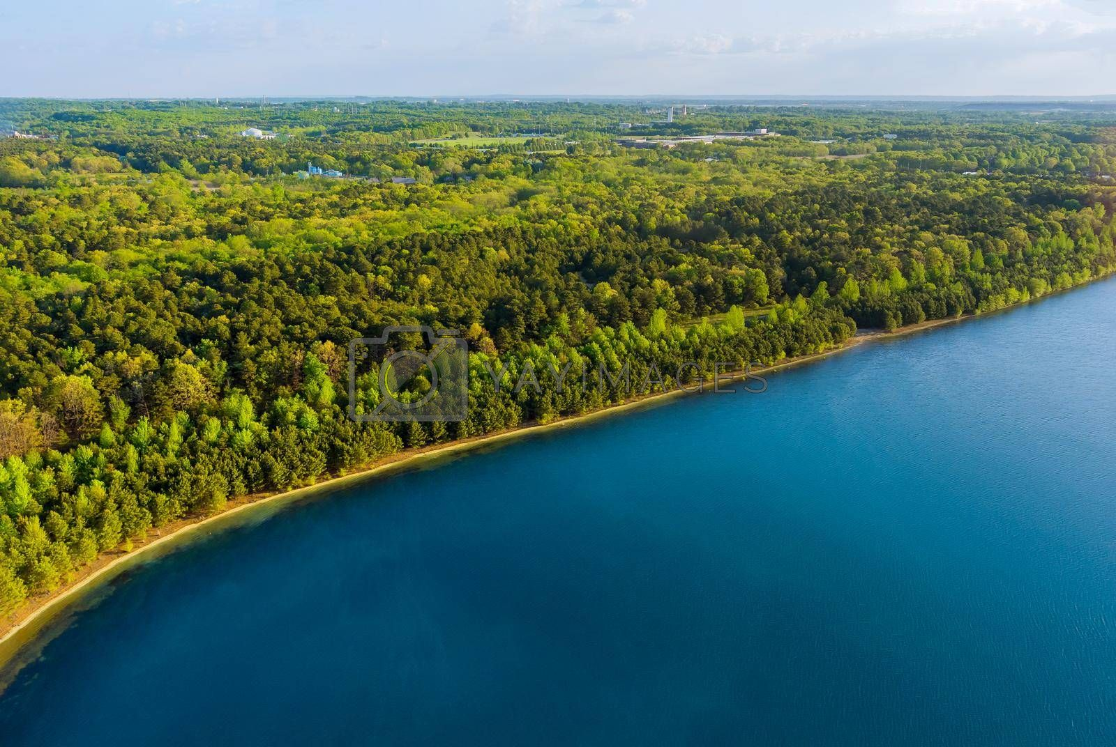 Idyllic summer forest lake with green forests panorama trees