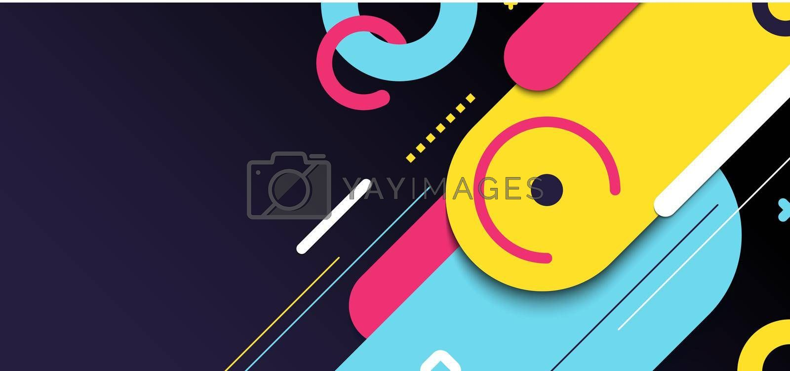 Royalty free image of Abstract banner web template geometric elements rounded diagonal line bright color on black background by phochi