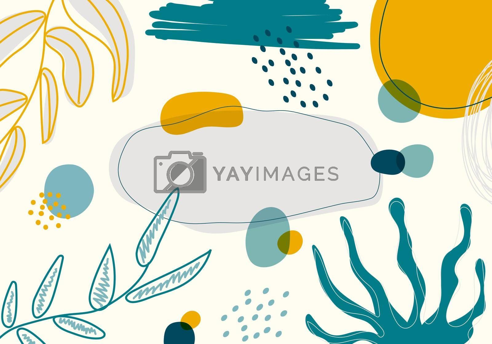 Royalty free image of Abstract modern creative collage contemporary hand drawn exotic jungle plants pattern background by phochi