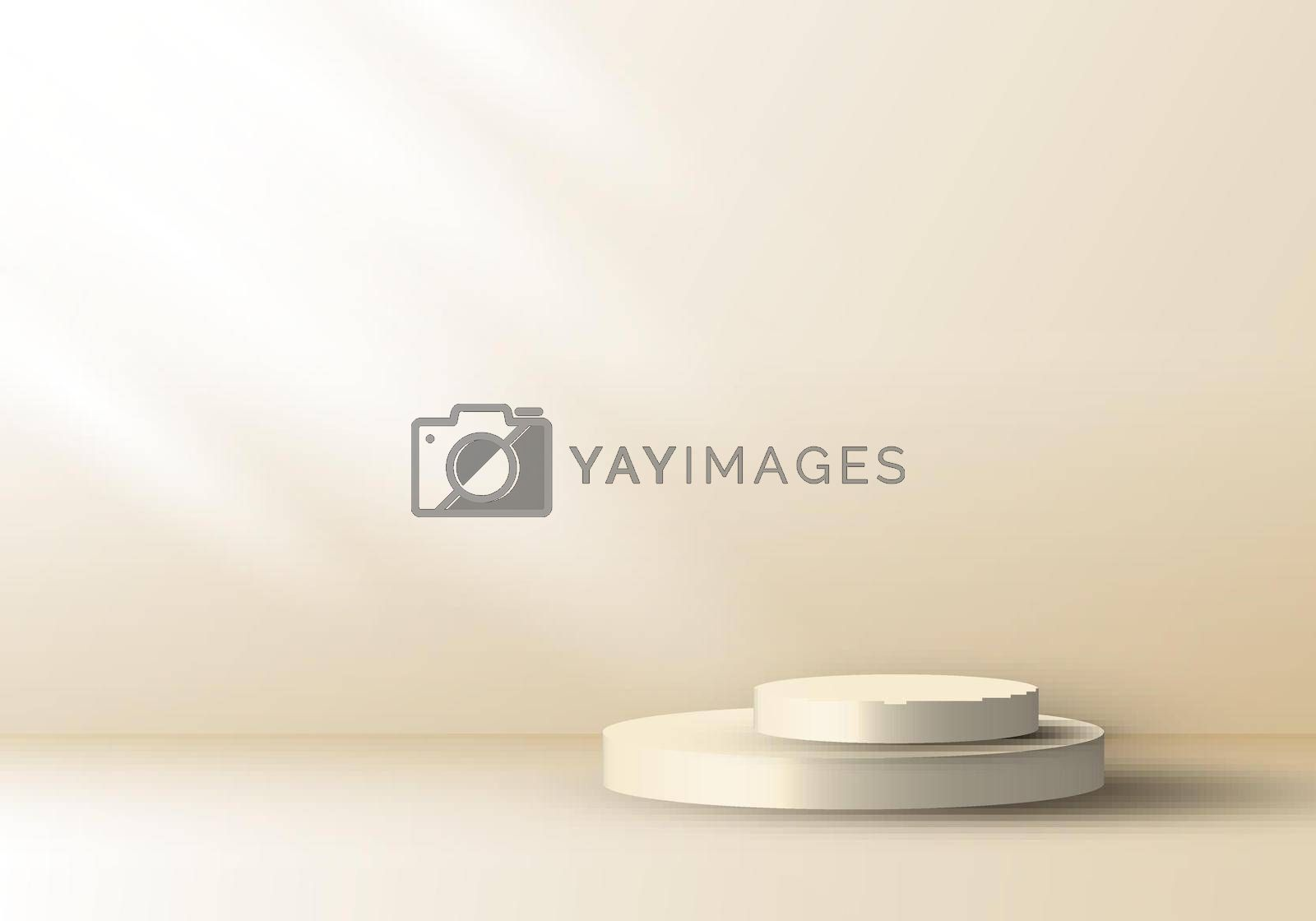 Royalty free image of 3D realistic cream color geometric round shape stacked podium with side lighting mockup minimal scene background by phochi
