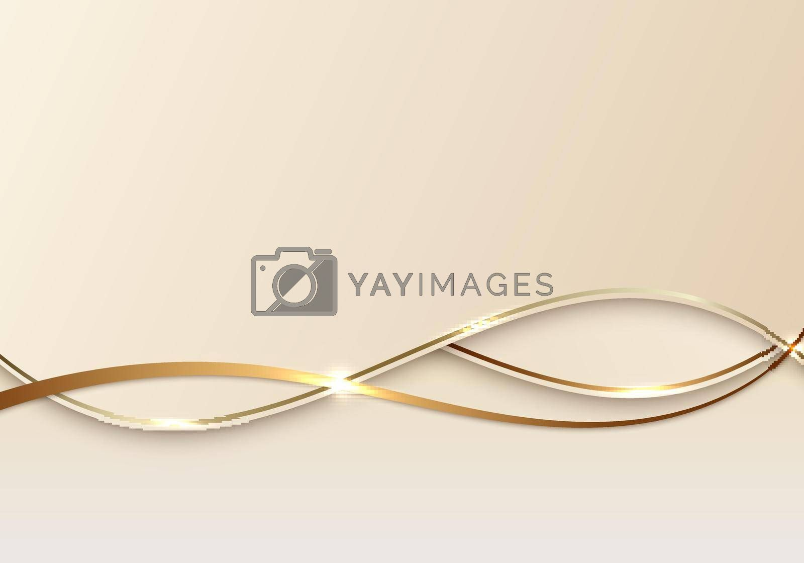 Royalty free image of Abstract luxury 3d background golden line on wave shape paper cut style by phochi