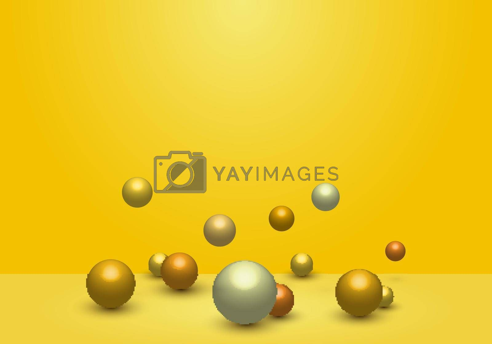 Royalty free image of 3D dynamic 3d spheres glossy balls on yellow studio room background by phochi