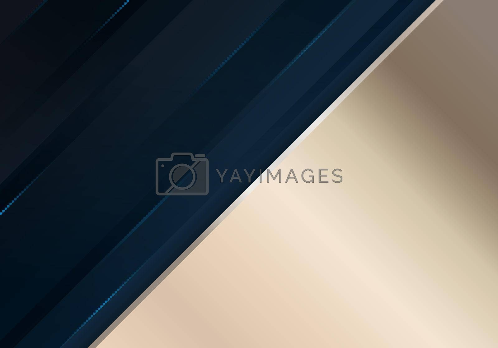 Royalty free image of Abstract dark blue diagonal stripes layered with lighting effect and golden background by phochi