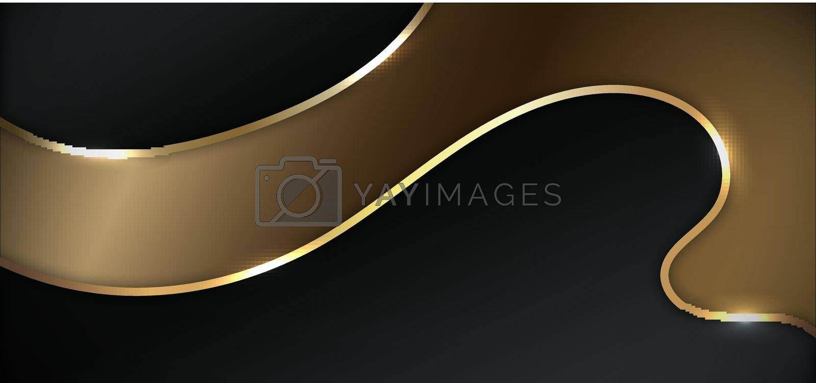 Royalty free image of Abstract black and gold wavy layers curve shape background luxury style by phochi
