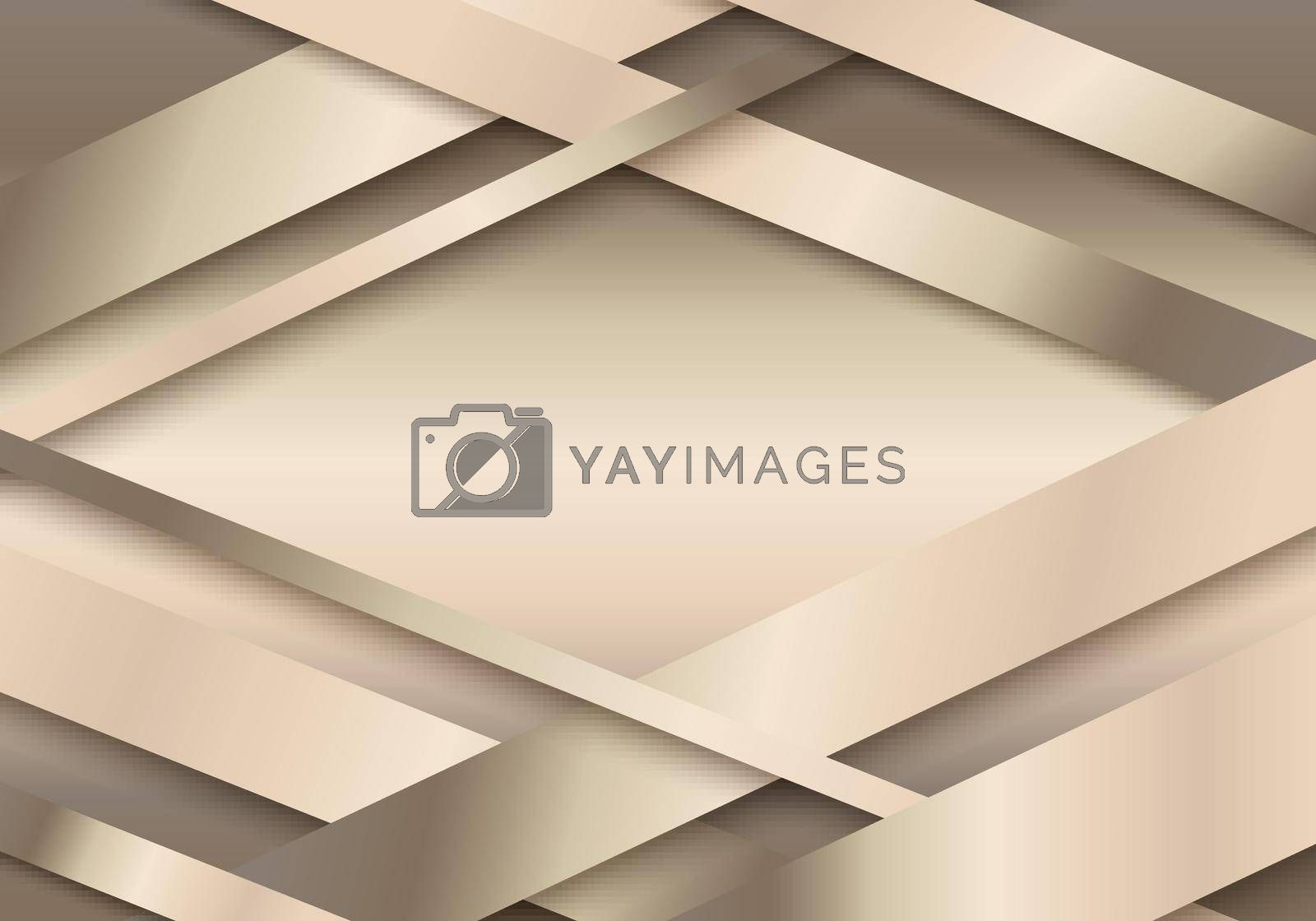 Royalty free image of Abstract 3D golden stripes paper cut decoration textured with overlapping layers background by phochi