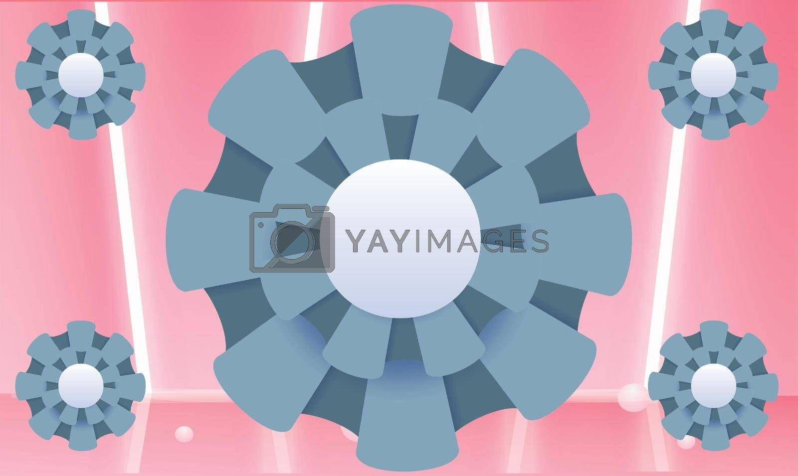 Royalty free image of big and small circle flower on abstract pink background by aanavcreationsplus
