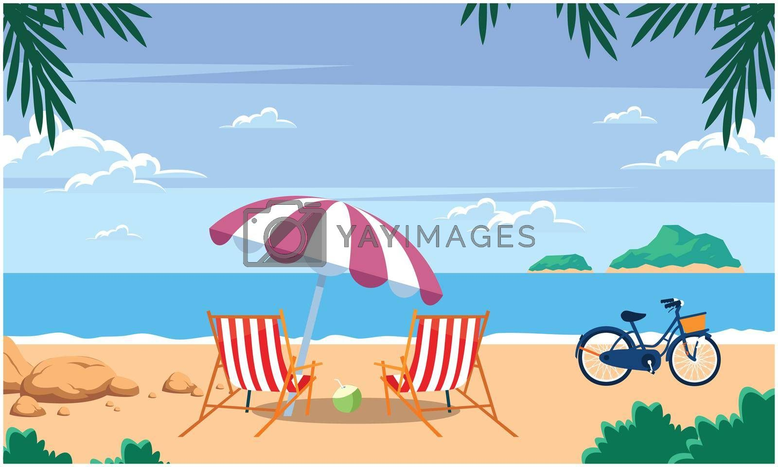 Royalty free image of a sunny view of a beach with chair, umbrella, bicycle and coconut by aanavcreationsplus