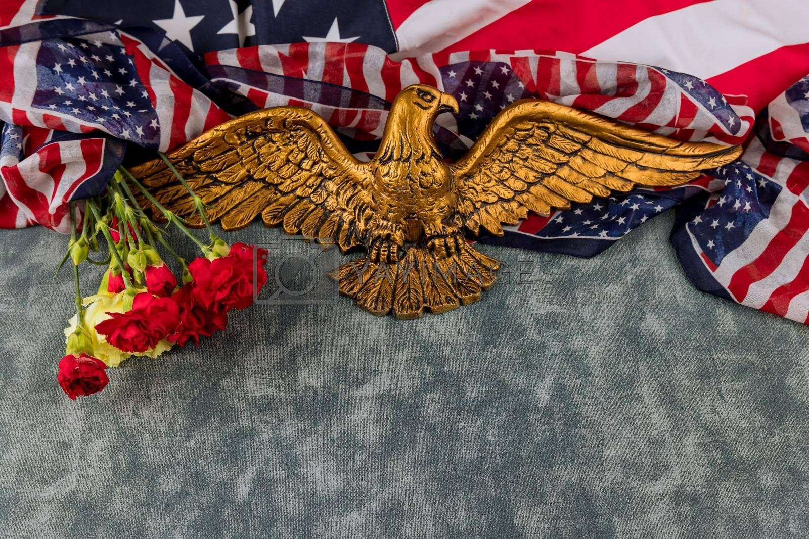 American flag on Memorial day honor respect patriotic military US in pink carnation in the American Bald Eagle