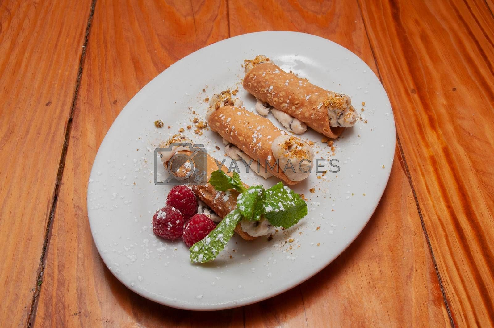 Delicious Italian dessert dish known as the cannoli