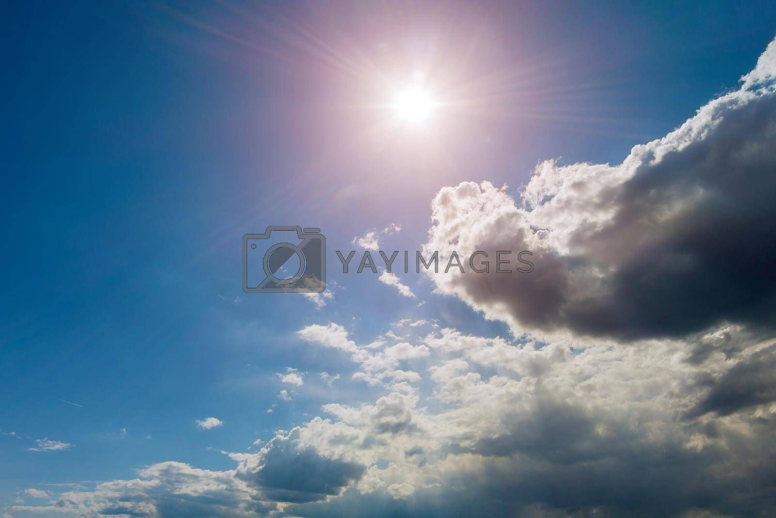 Panoramic view of blue sky with clouds and sun in the nice day