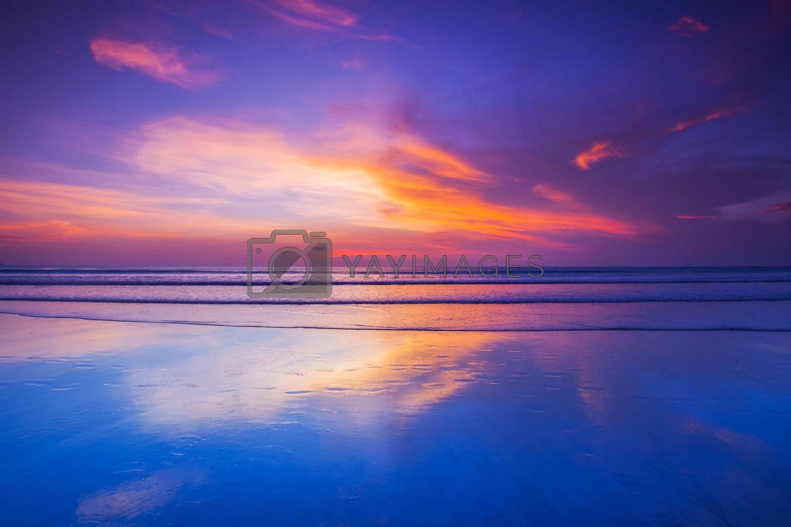 Royalty free image of Seacoast skyline dramatic sunset by Yellowj