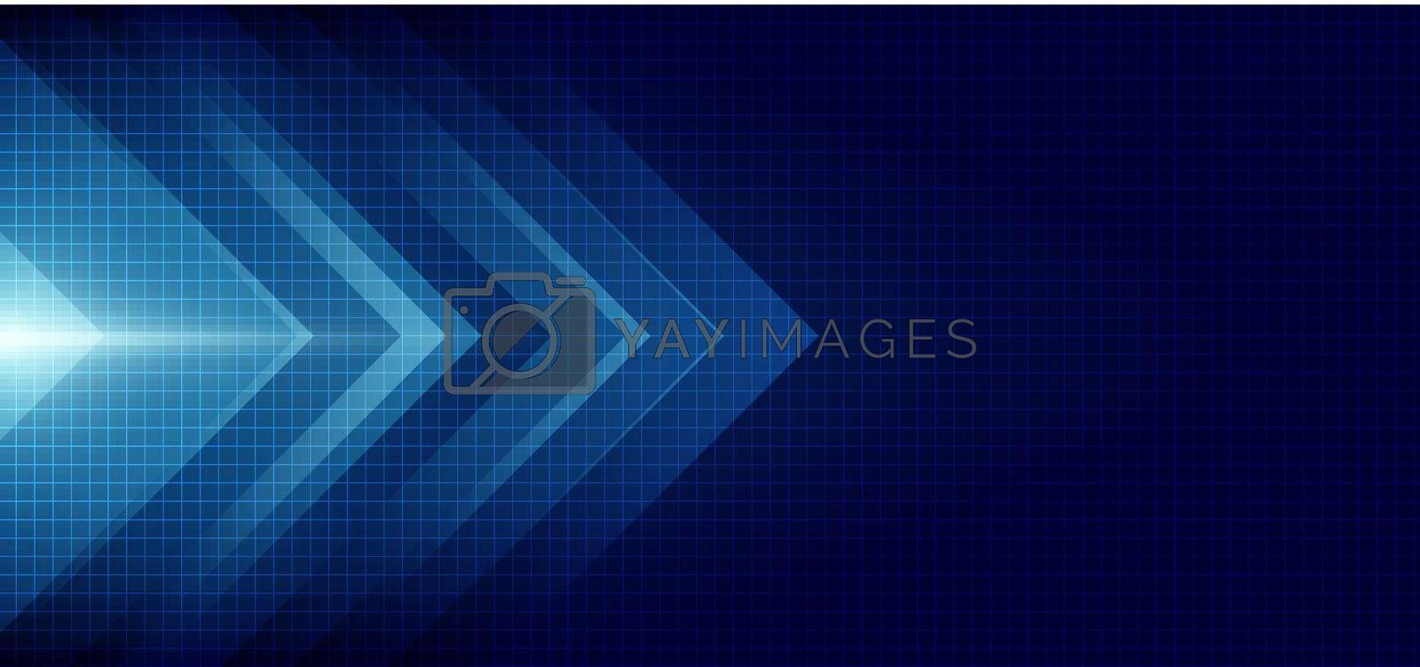 Royalty free image of Abstract blue arrow glowing with lighting and line grid on blue background technology hi-tech concept by phochi