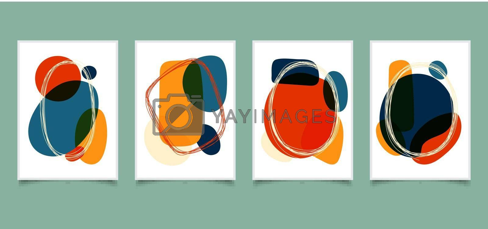 Royalty free image of Set of abstract hand drawn organic shape bright color with lines frame doodles on white background by phochi