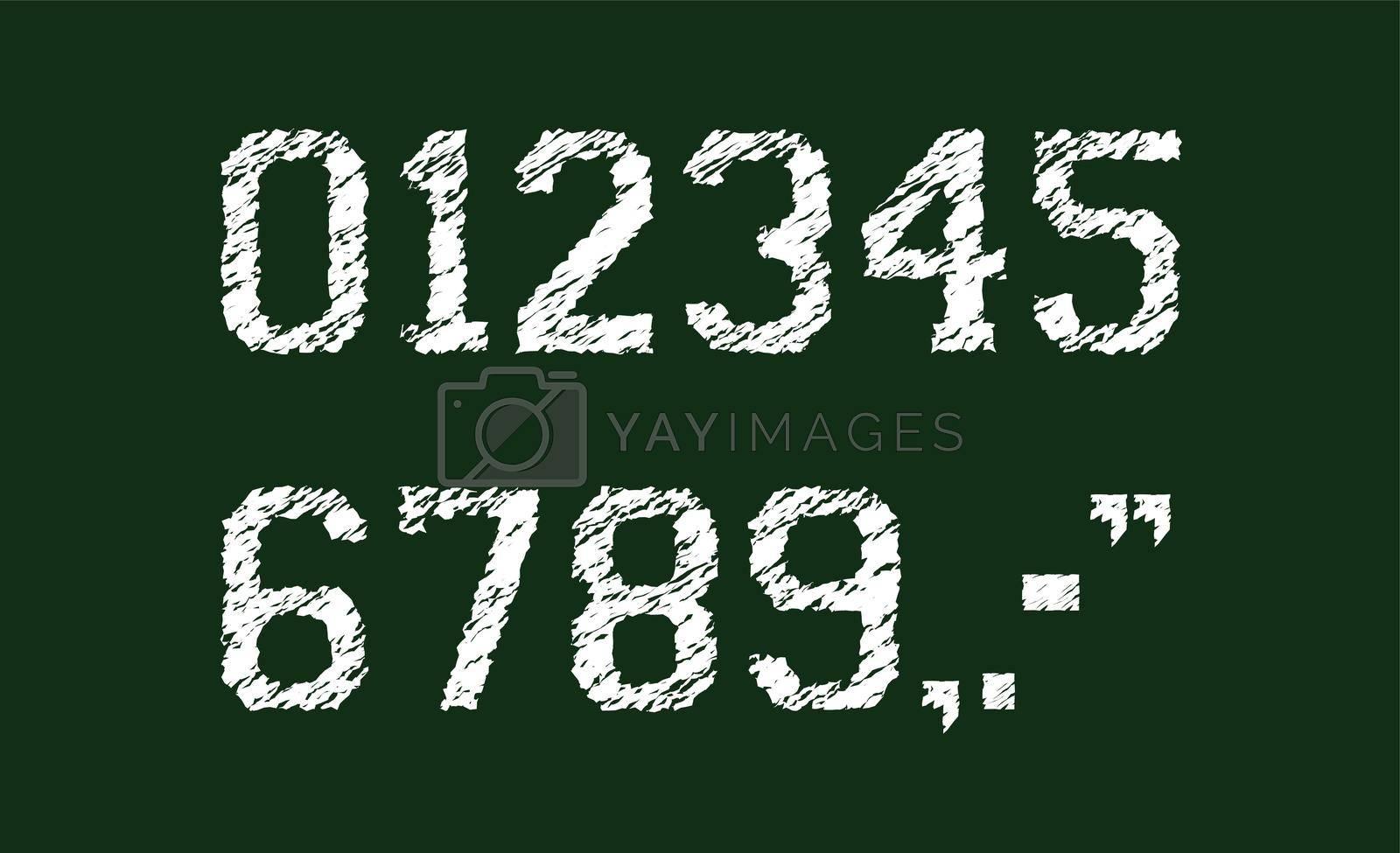 Chalked vector grunge numbers illustration set.