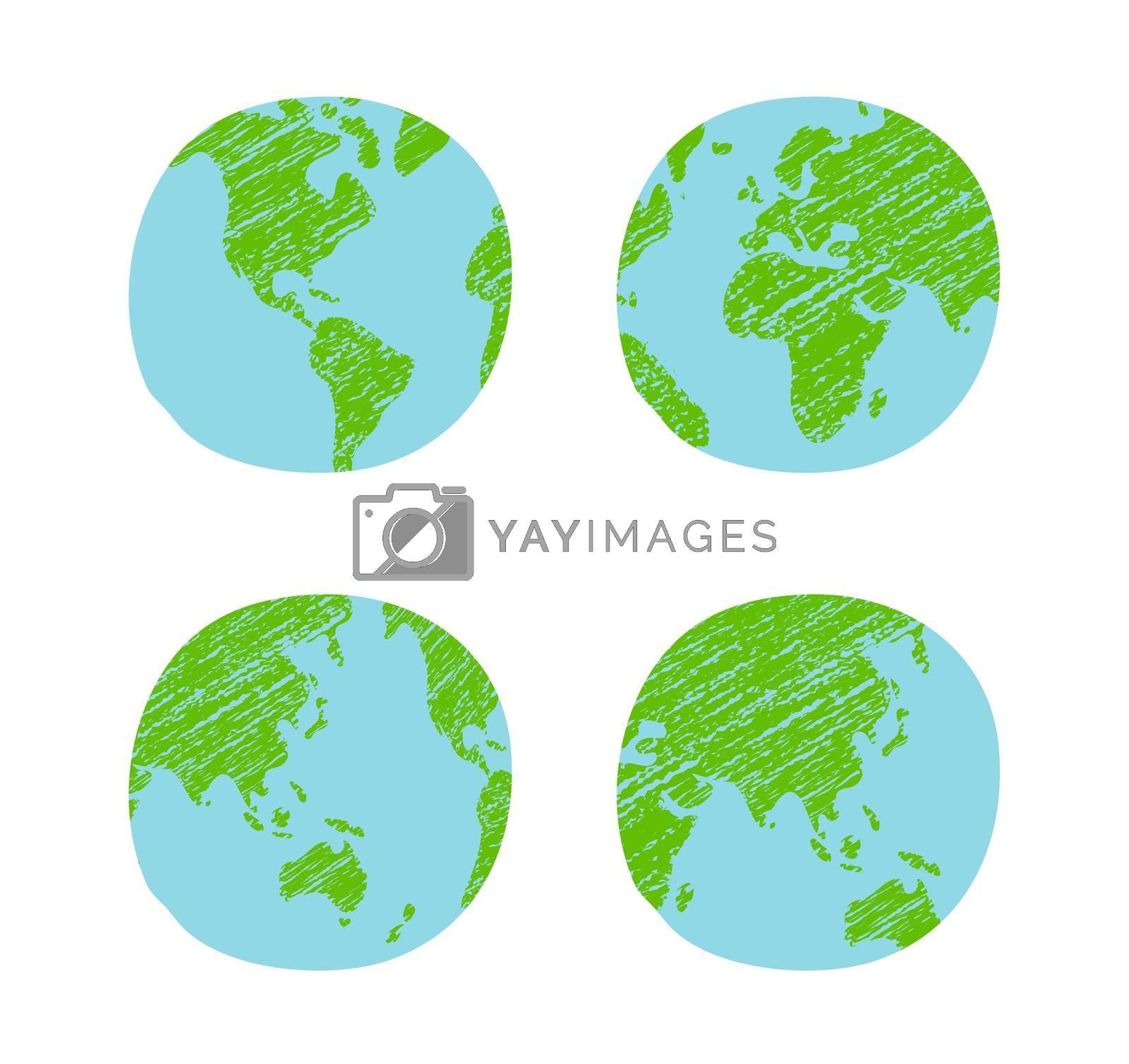 Chalked vector grunge earth (world map, globe)  illustration set