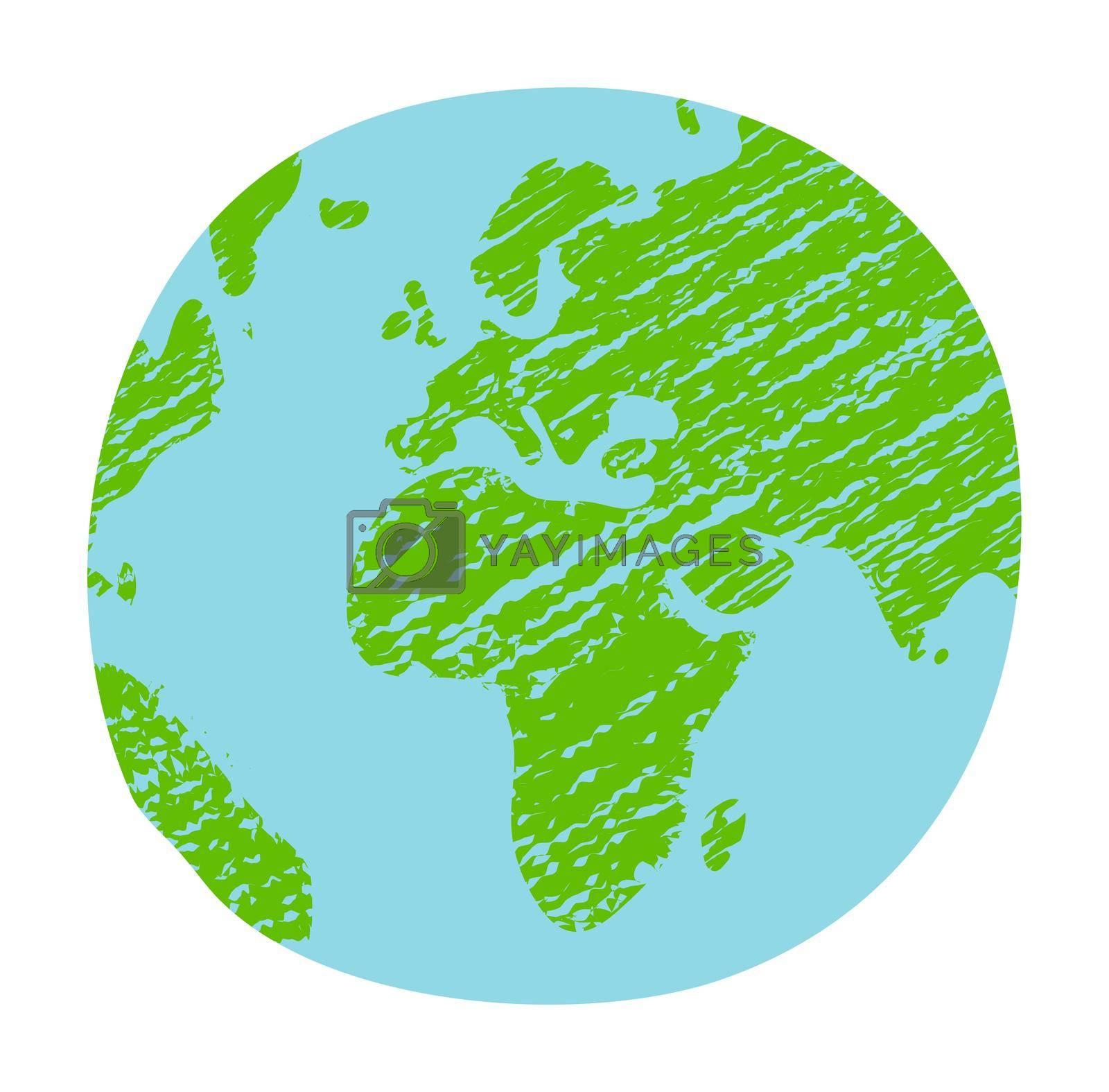 Chalked vector grunge earth (world map, globe)  illustration