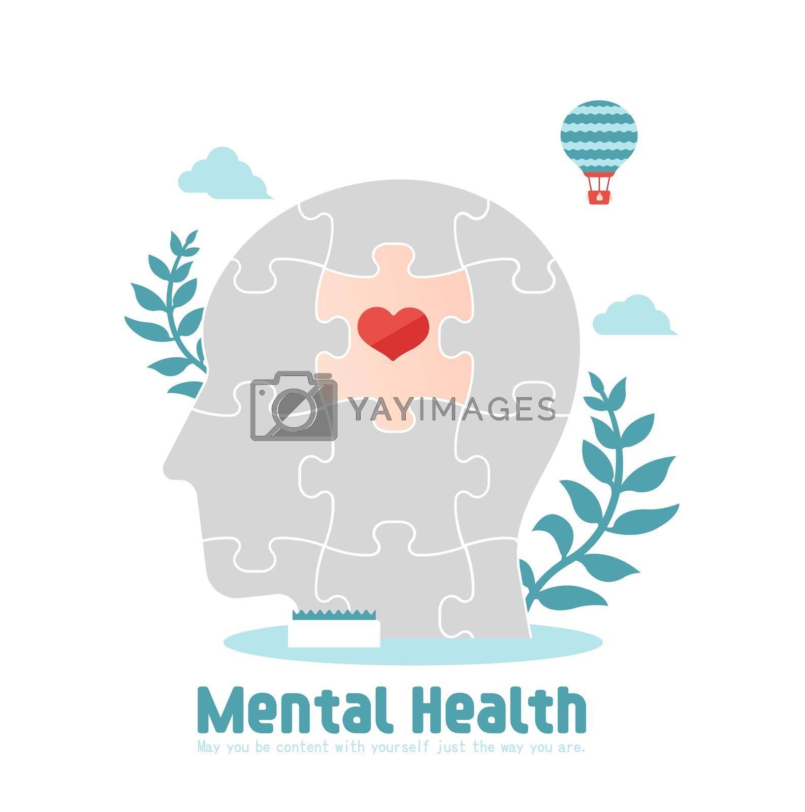 Mental health concept flat vector illustration