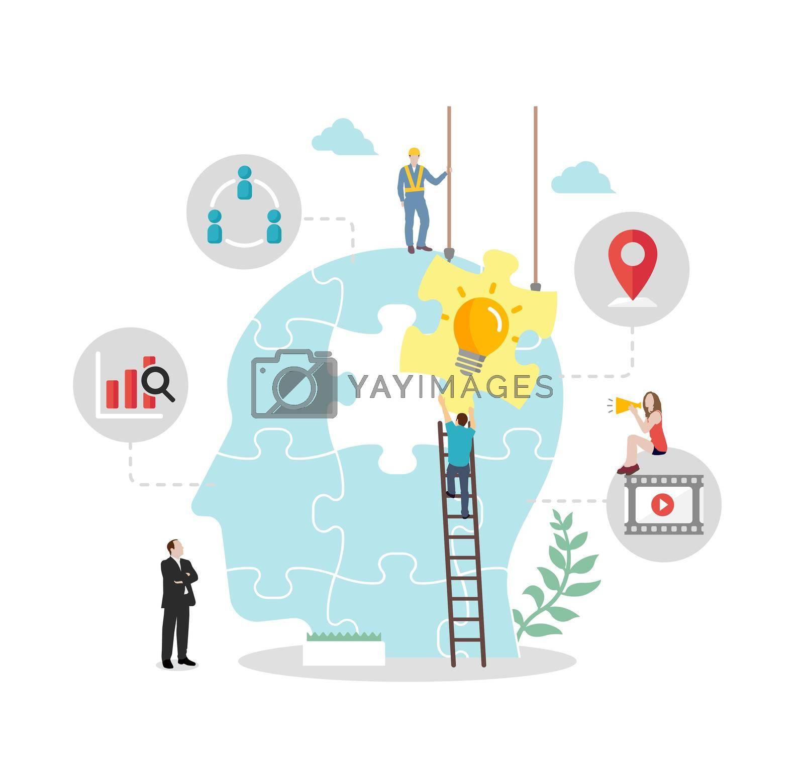 Business concept ( new idea, imagination, inspiration ) vector illustration