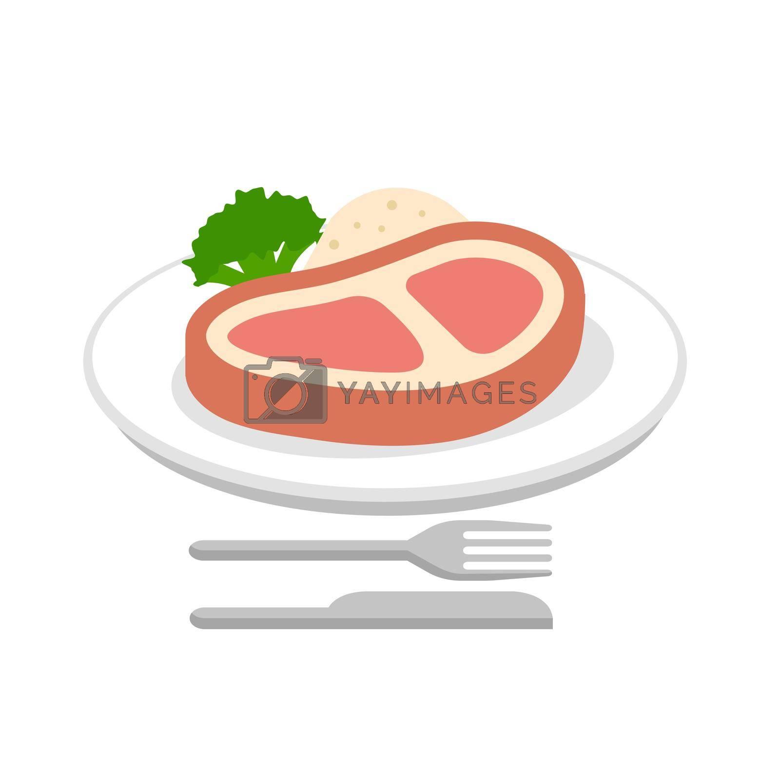 Steak, beef, dinner vector  icon illustration