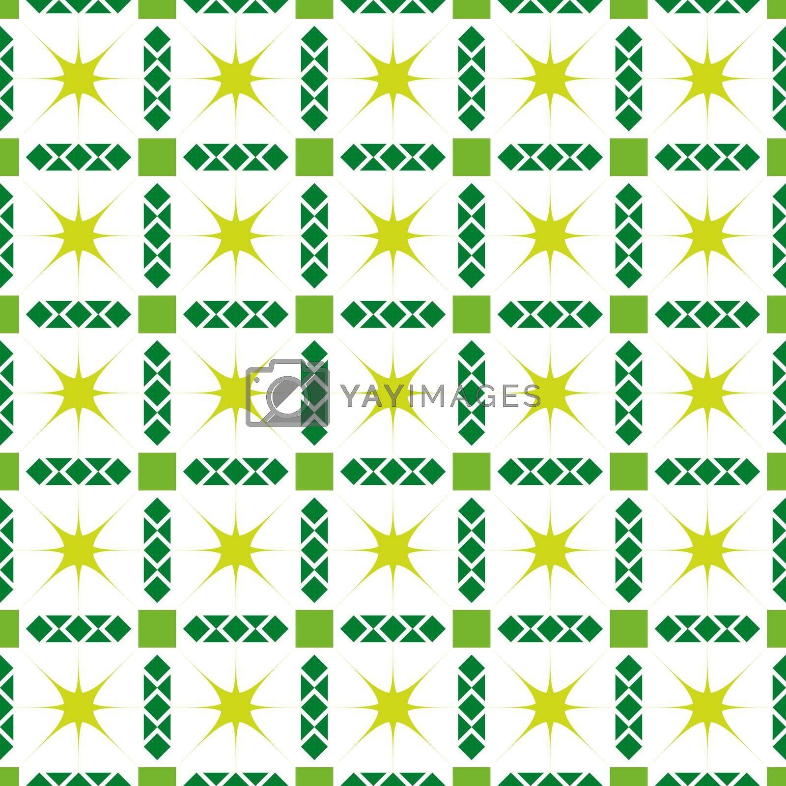 Seamless pattern with squares, diamonds, and twinkling stars for texture, textiles, packaging, and simple backgrounds. Flat Style